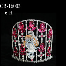 Custom Large Pink Rhinestone Smurfette Crown