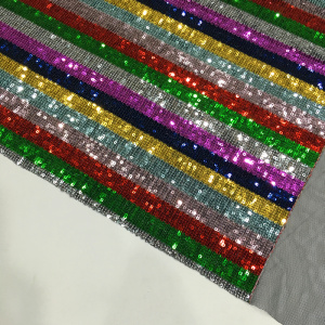 Rainbow 3mm Sequin Mesh Embroidery Fabric