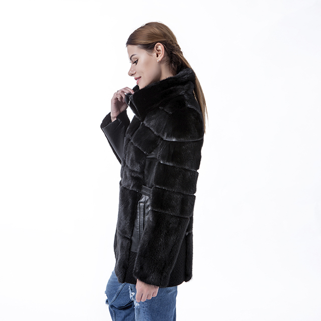 Fur and wool overcoat black
