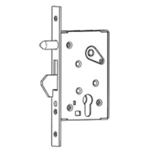 Hook bolt mortise lock with orientated pins