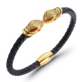 Mens leather gold plated snake bracelet