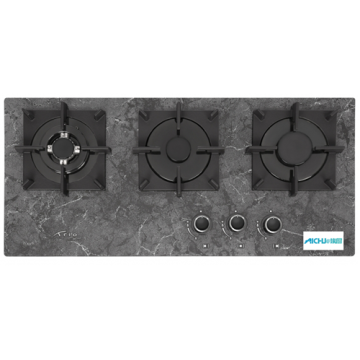Black With A Marble Pattern Hob Glass