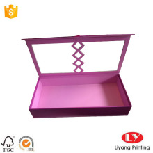 Pink cardboard gift box with clear window