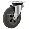 8 Inch Plate Swivel Gray Rubber PP Core Dustbin Wheel
