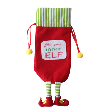 Christmas wine bottle bag with magic elf theme