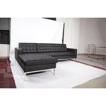 Brown Leather Florence Knoll Corner sofa replica