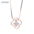 Long Snake Chain Diamond Four Leaf Clover Necklace