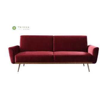 Green Tela ng Sofa 2 Seater na may Mga binti ng Metal
