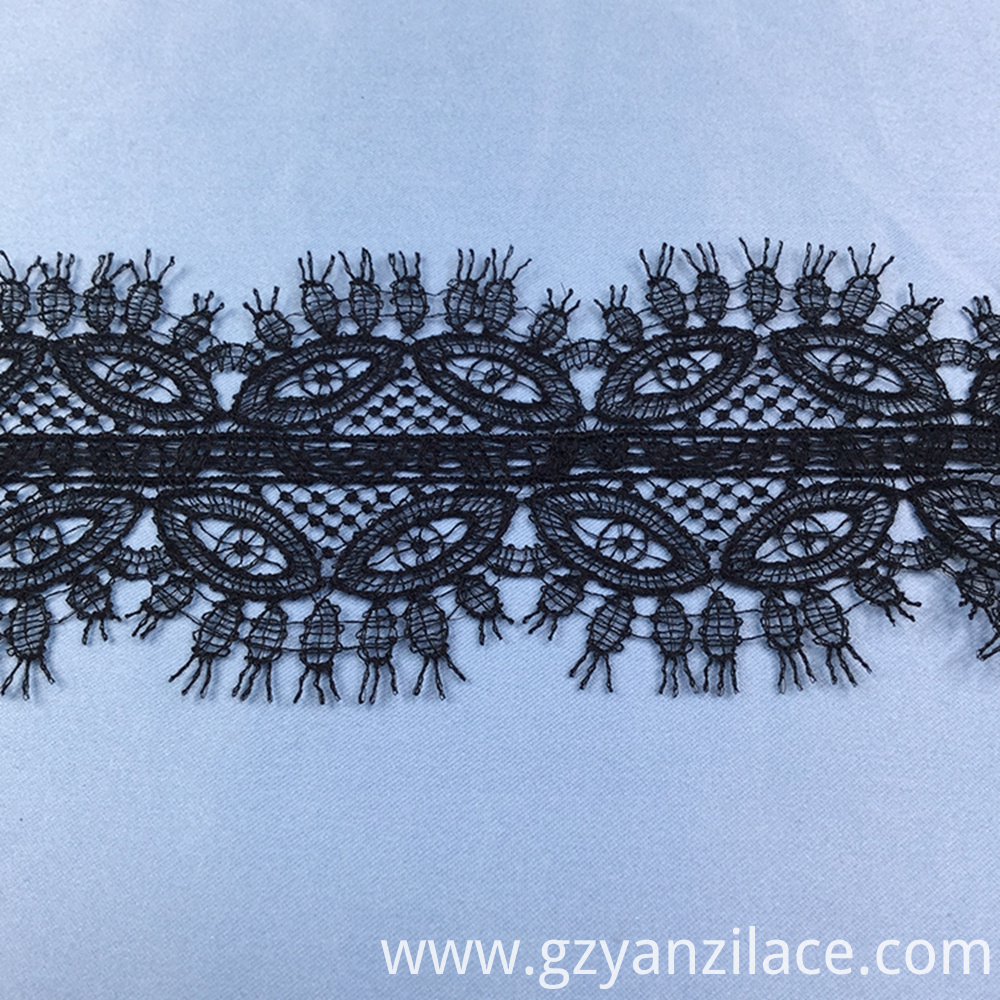Black Thin Eyelash Lace Ribbon Trim