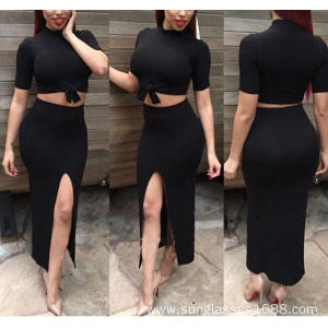 The New 2-Piece Round Neck Nigh-Slit Dress S-XL
