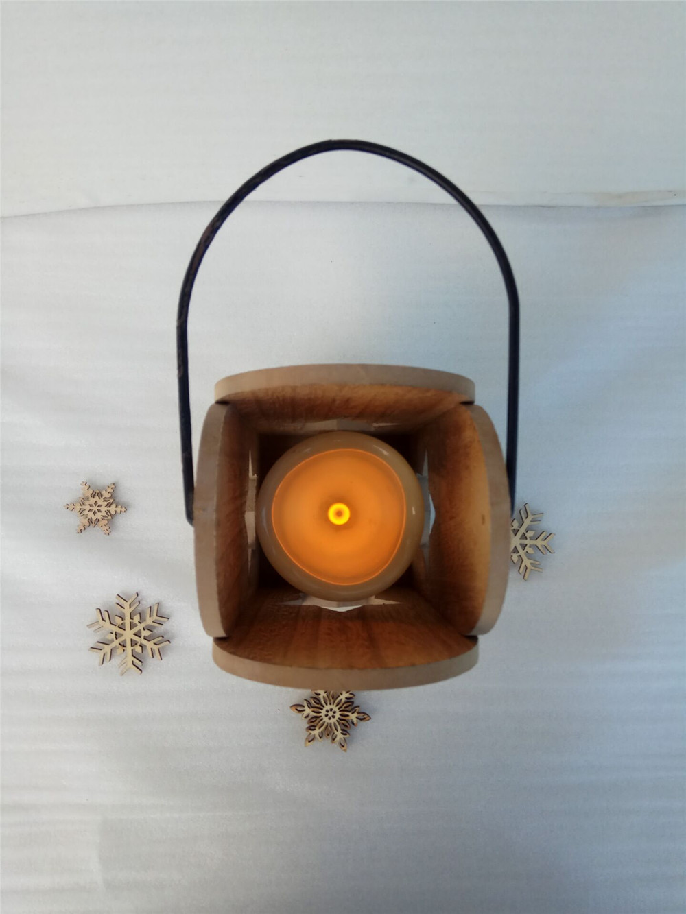 hanging wooden candle tray