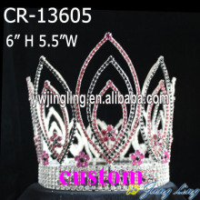 Mix Pink Silver Rhinestone Full Round Crown