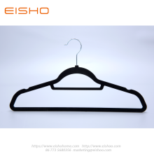 Black Anti-slip Velvet Coat Hanger With Bar