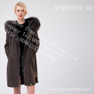 Women  Hooded Medium Fur Overcoat