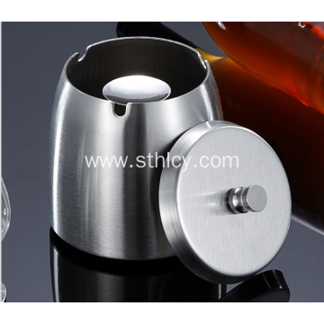 Portable stainless steel ashtray