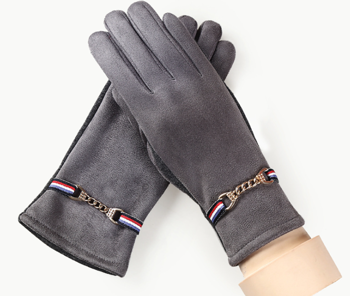 Suede Warm Autumn Winter Gloves Grey