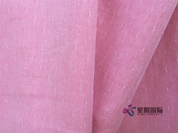 Pink Jacquard Cotton Fabric
