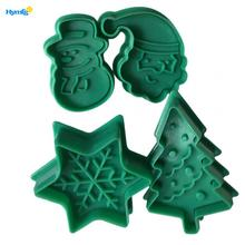 Plastic 4pcs Christmas Fondant plunger Cookie Cutter Set