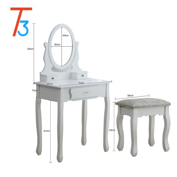 white wooden vanity makeup table dresser set