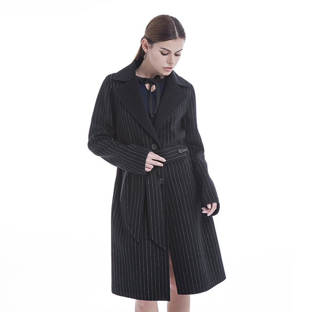 Striped cashmere overcoat