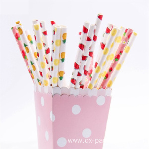 Coloured paper straws for drinking