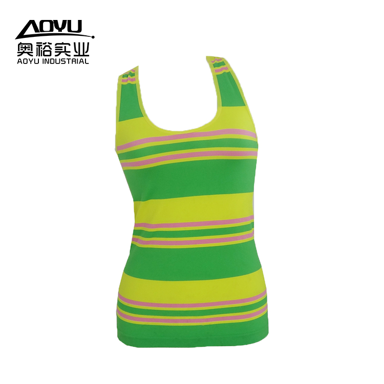 Stripe Workout Fitness Women Yoga Sport Tank Tops