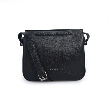 Mini Fashion Lady Black Zipper Crossbody Leather Bags
