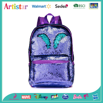 purple and blue sequins backpack