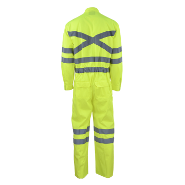 Fluorescent Green Coverall Workwear With Reflective Tapes