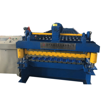 double layer trapezoid roof sheet making machine