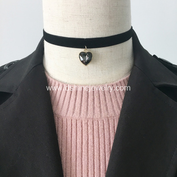 Black Velvet Lace Love Pendant Choker Necklace For Lady