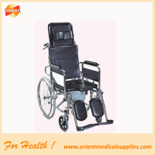 Commode wheelchair foldable chromed steel