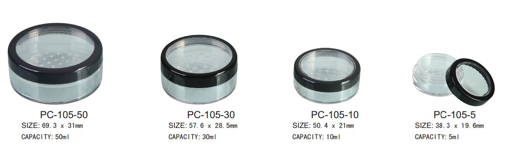 Loose powder container with transparent window