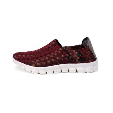 China for China Womens Woven Sneakers,Womens Durable Woven Fabrics Sneakers,Womens Breathable Woven Sneakers Supplier Casual And Simple Wine Red Woven Loafers supply to Portugal Manufacturer