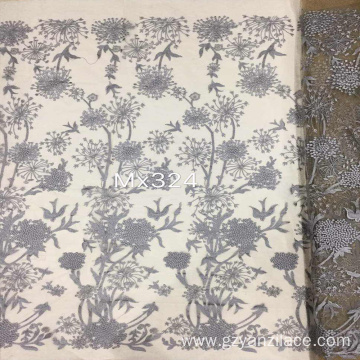 Gray Sunflower Embroidered Tulle Fabric