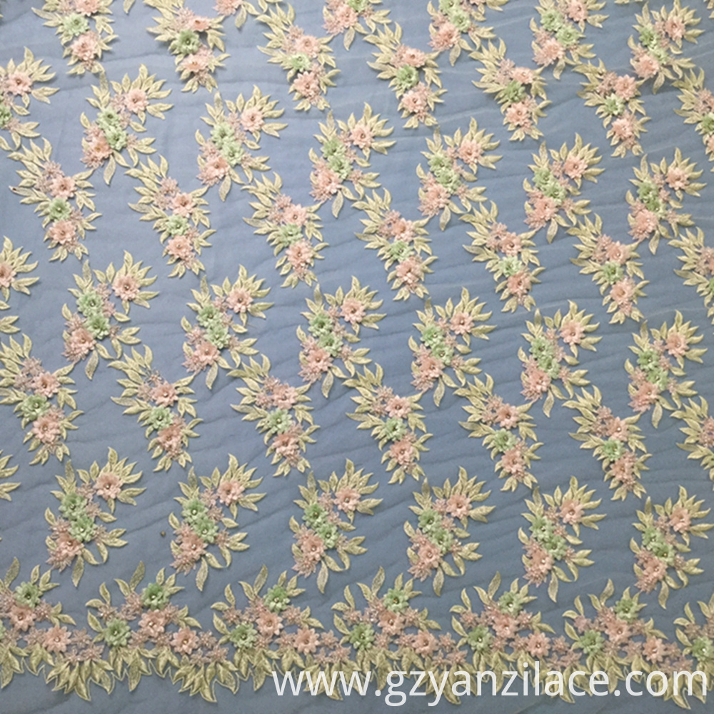 Pink Flower Embroidery Fabric