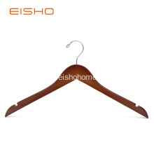 China Supplier for Wooden Shirt Hangers EISHO Reddish Brown Wooden Top Hangers With Notches export to Germany Exporter