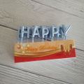 Silver Gold PVC Packing Letter Smokeless Birthday Candles