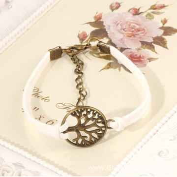 Wrapped Multilayer Genuine Leather Bracelet With Tree Charm