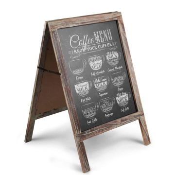 Double sides A-Frame Chalkboard Sign Rustic Wooden Sidewalk Easel Chalk Stand