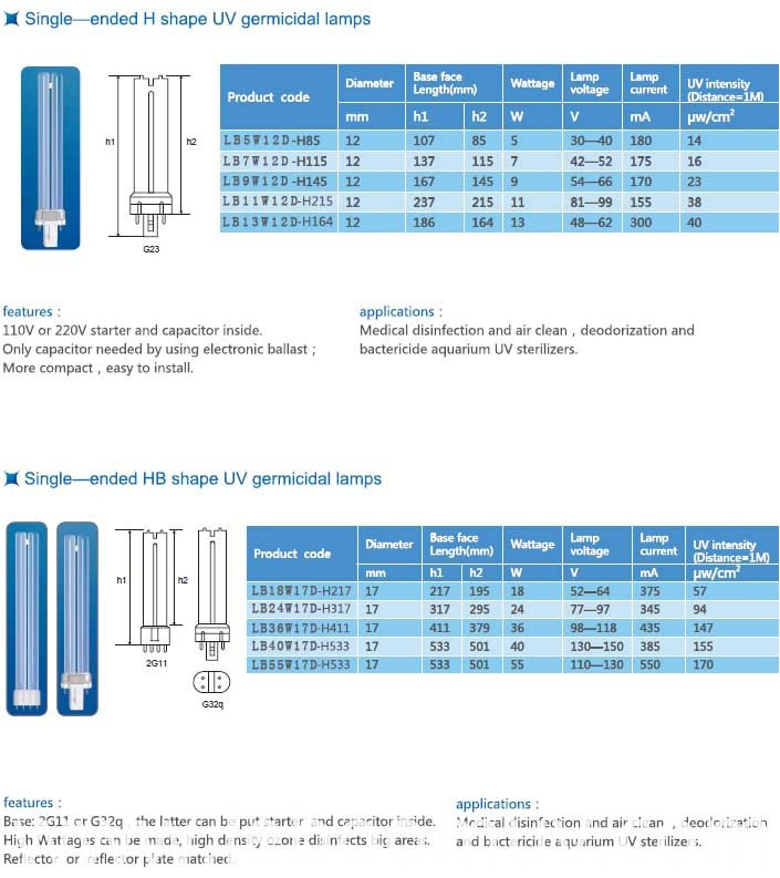 H tube UV purification lamp
