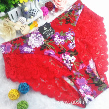 China wholesale new style printed floral red sexy briefs lace spandex fancy panty 6893
