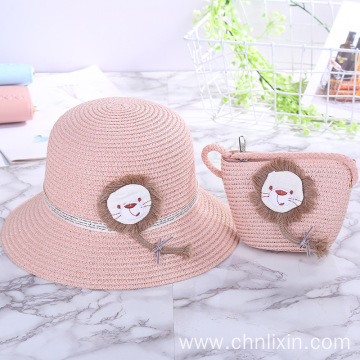 Portable kids straw hat and straw bag