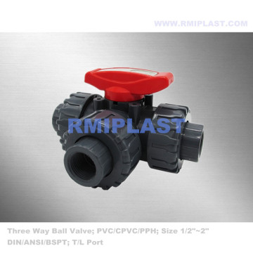 Plastic Three Way Ball Valve Socket End