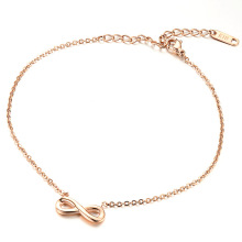 Stainless steel 14k rose gold infinity ankle bracelet