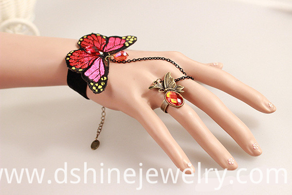 Butterfly Shape Lace Charm Bracelet With Ring On A Chain