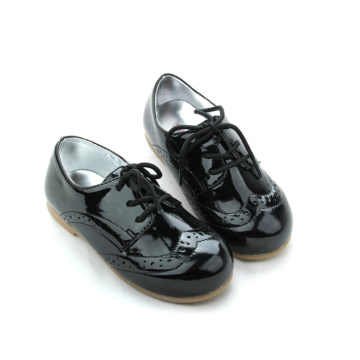Kids Black Genuine Leather Oxford Shoes