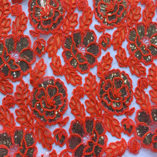Polyester Cord Flower With 3mm Sequin Embroidery Fabric
