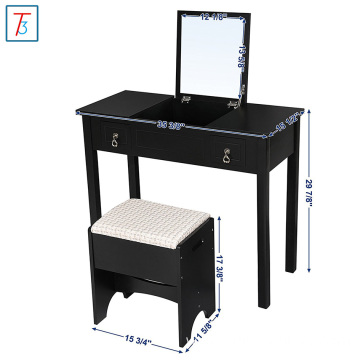 Vanity Set with Flip Top Mirror Cushioned Stool Makeup Dressing Table 2 Drawers 3 Removable Organizers