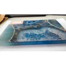Quality for Semi Precious Stone Coffee Table Blue agate stone slab export to Poland Manufacturer